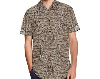 Men's Lapel Collar Short Sleeve Shirt Timber