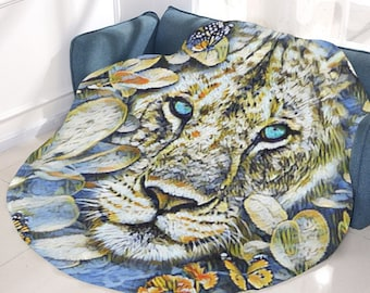 Microfleece Round Blanket lion