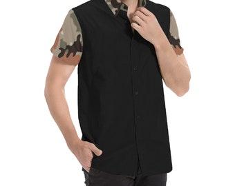 Men's Short Sleeve Button Shirt Camo Collar Black