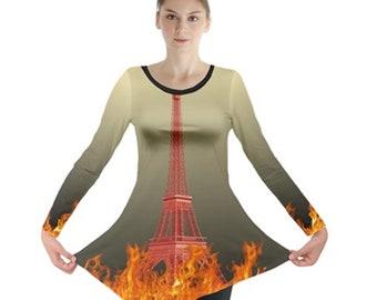 Women's Long Sleeve Tunic Eiffel tower