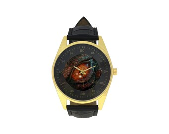 Men's Leather Strap Watch dragon