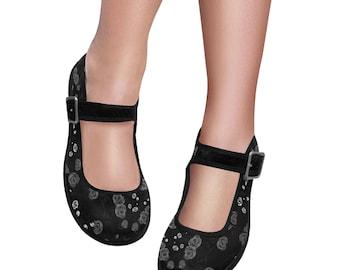 Women's Mary Jane Shoes Black White Rose