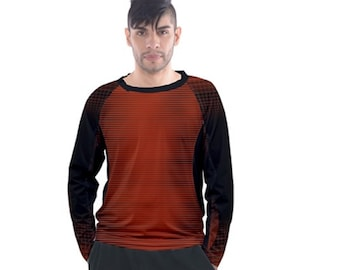 Men's Long Sleeve Raglan black red