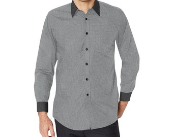 Men's Grey Long Sleeve Button Shirt