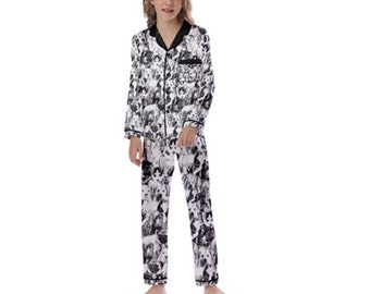 Kid's Long Sleeve Satin Pajamas puppies