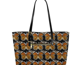 Large Leather Tote Bag monarch