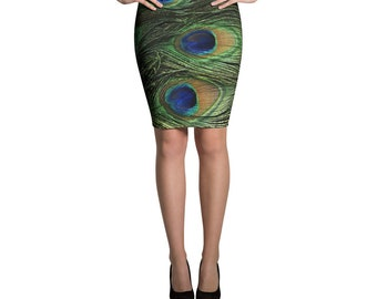Peacock Feathers Pencil Skirt