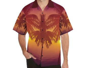 Men's Relaxed Fit Button Lapel Collar Palm Tree Shirt