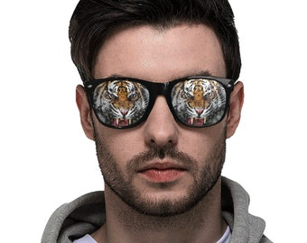 Perforated Designed Sunglasses Tiger