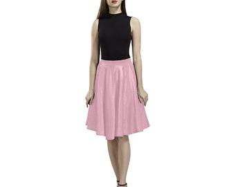 Women's Pleated Pink Knee Length Skirt