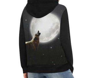 Women's Hoodie Moon Wolf
