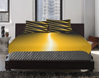 Bedding Set 3 pc Yellow Road