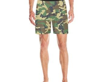Men's Pajama Shorts Green Camouflage