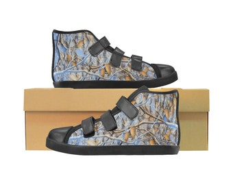 Kid's Velcro Hi Top Sneakers Camo Paint Blue