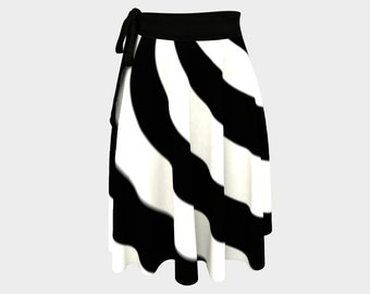 Black White Wrap Skirt