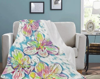 Micro Fleece Ultra Soft Flower Print Blankets