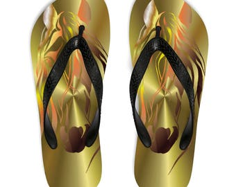 Unisex FlipFlops Gold Horse