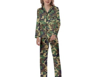 Kid's Long Sleeve Satin Pajamas Camo
