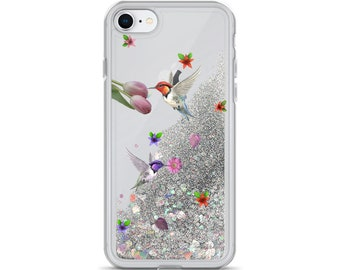 Liquid Glitter Phone Case Hummingbirds
