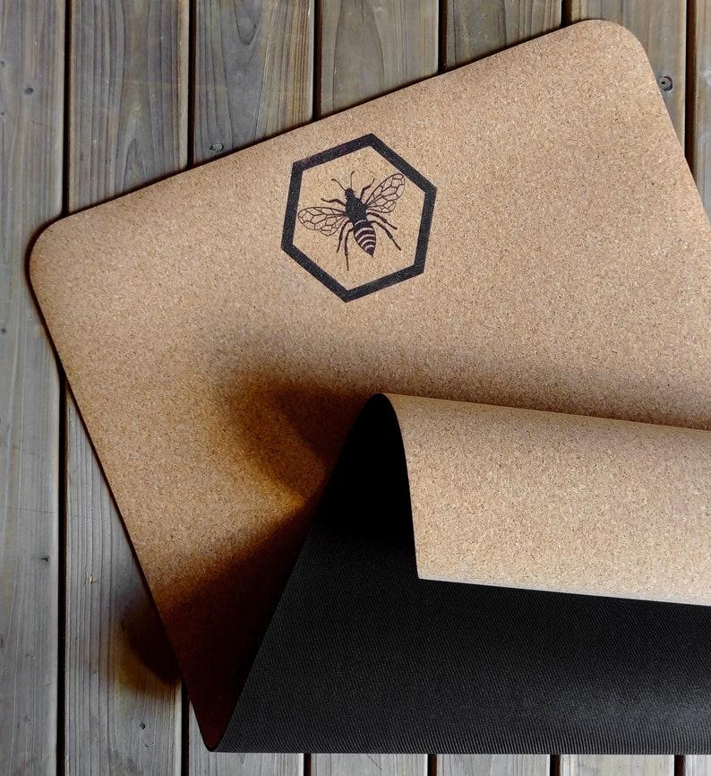 Natural Cork Yoga Mat XL Handmade Anthophila Design  image 0