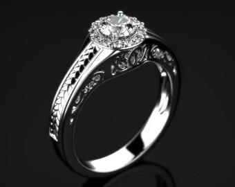 White Gold White Sapphire Ring White Gold White Sapphire Engagement Ring White Sapphire White Gold White Ring Gold White Sapphire Ring