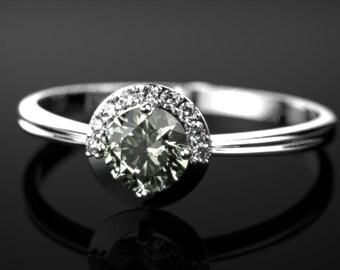 Sterling Silver Prasiolite Ring Prasiolite Engagement Ring Green Amethyst Engagement Ring Gemstone Green Amethyst Ring