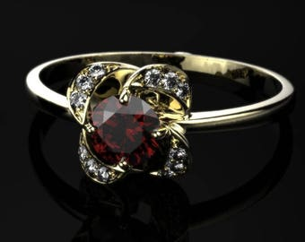 Garnet Engagement Ring Yellow Gold Garnet Ring Red Gemstone Engagement Ring Yellow Gold Garnet Ring January Birthstone