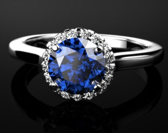 Sapphire White Gold Engagement Ring White Gold Sapphire Engagement Ring Sapphire Ring Sapphire White Gold White Gold Sapphire Ring September