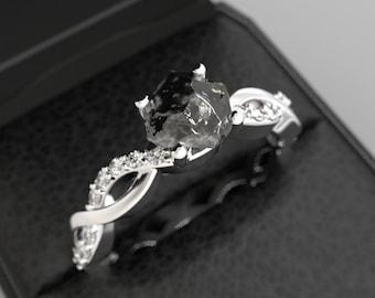 e4563392d Rough Diamond Engagement Ring White Gold Raw Black Diamond Uncut Diamond  Engagement Ring Rough Stone Uncut Stone White Gold Rough Diamond