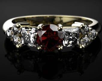 Yellow Gold Garnet Ring Garnet Engagement Ring Red Gemstone Engagement Ring Yellow Gold Garnet Ring January Birthstone
