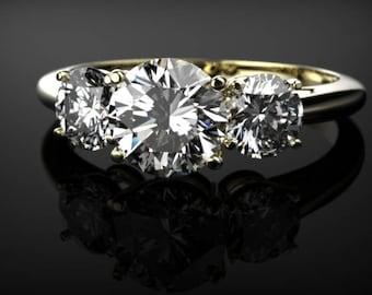White Sapphire Engagement Ring Yellow Gold Ring Yellow Gold Engagement Ring White Sapphire Ring Diamond Alternative Yellow Gold