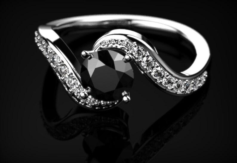 Or blanc diamant noir bague de fiançailles diamant noir bague de fiançailles véritable diamant noir bague Pierre noire