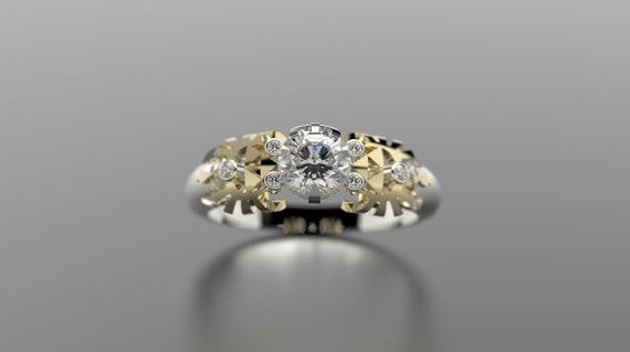 Zelda Engagement Ring Triforce Inspired Gold Engagement Ring Etsy