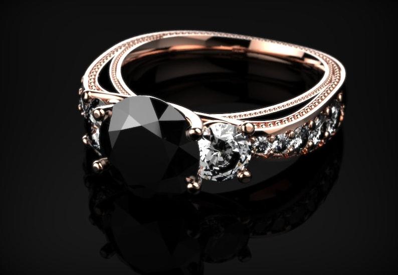 Diamant Noire Véritable Noir Infini Pierres Précieuses Or De Fiançailles Rose Bague LSGUzVjMqp