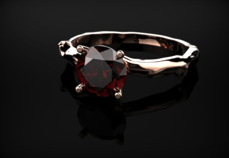 Garnet Branch Engagement Ring Rose Gold Engagement Ring Red Gemstone Engagement Ring Gold Garnet Ring January Birthstone Garnet Rose Gold