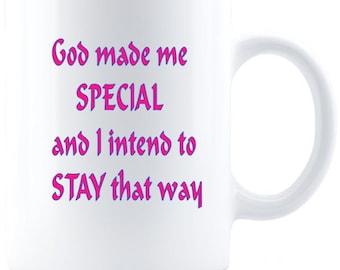 God Made Me Special Inspirational Mug - Great Faith Gift For Women