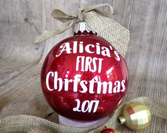 5795d851ae98c Personalised Christmas Bauble, baby's first Christmas bauble, christmas  decorations, tree decorations, glitter bauble, personalised baby gif