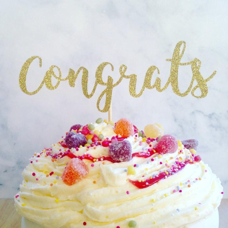Congrats Cake Topper Glitter Cake Topper Party Decor Etsy