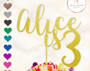 Personalised cake topper, one cake topper, glitter cake topper, baby name cake topper, cake decoration, first birthday cake topper