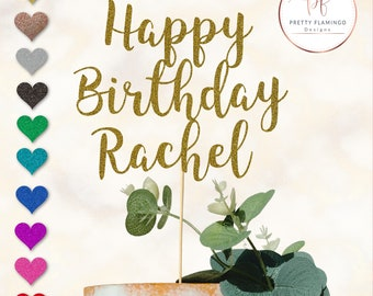 Personalised Cake Topper, Happy Birthday name, non-shed glitter card, single sided, choice of colours, UK based