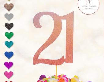 21 cake topper, cake topper, glitter cake topper, 21 party decor, 21 cake decoration, twenty one cake decoration, 21