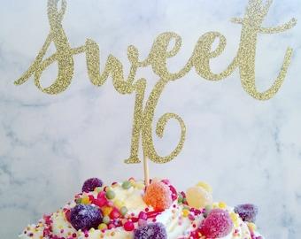 Sweet sixteen cake topper, sweet 16 party, glitter cake topper, cake decoration, party decor, sweet sixteen, cake topper