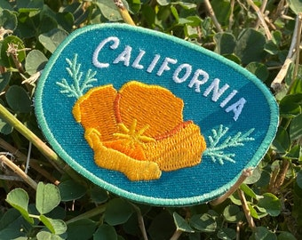 California Poppy Patch - Iron on Explorer Embroidered Badge