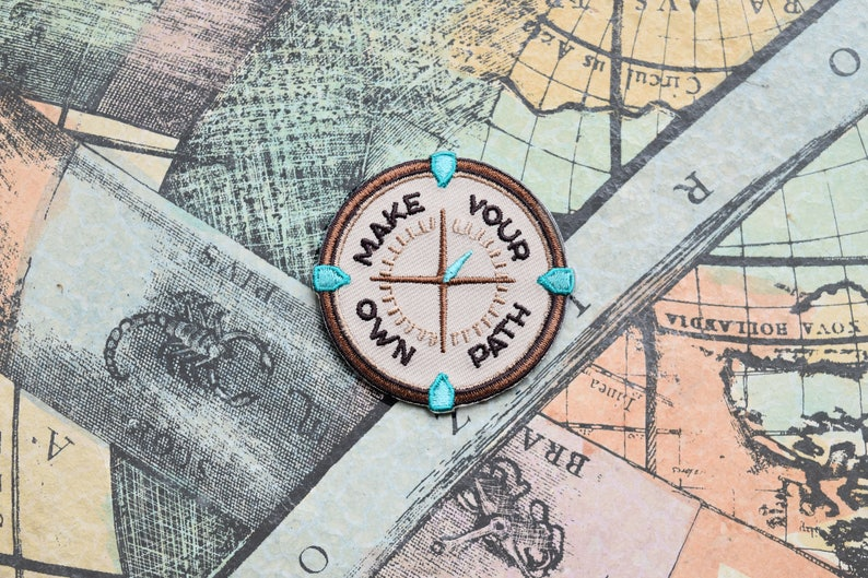 Make Your Own Path Iron On Patch Mindfulness Quote Compass