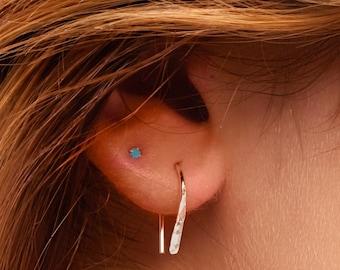 Red Stud Earrings Small Stud Earrings Glass Stud Earrings Chevron Stud Earrings 8mm Stud Earrings Silver Studs Red Chevron Earrings