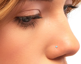 Details about  /Stainless Steel Nose Ring Turquoise Nostril Hoop Nose Earrings PiercingJewelO FY