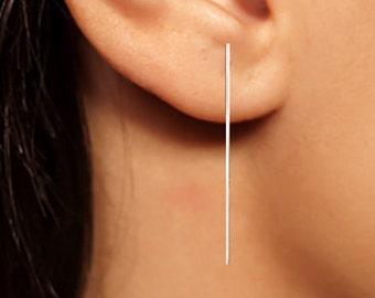 Silver Bar Earrings, Long Silver Earrings, Bar Earrings, Minimalist Earrings, Silver Earrings, Sterling Bar Earrings, Line Earrings