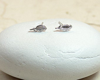 Small Stud Earrings, Small Silver Studs, Silver Leaf Earrings, Tiny Leaf Earrings, Leaf Stud Earrings, Feather Earrings