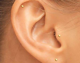 14K Gold Tragus Stud, Gold Helix Stud, Gold Cartilage Stud, Tiny Gold Studs, Gold Studs, Gold Earrings, Small Gold Earrings, Small Gold Stud