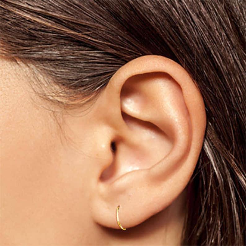 Gold Hoop Earrings Tiny Hoop Earrings Thin Hoop Earrings image 0